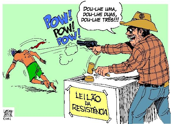 Cartoon by Carlos Latuff, shared by Combate Racismo Ambiental (Fight Environmental Racism) on Facebook. Caption: