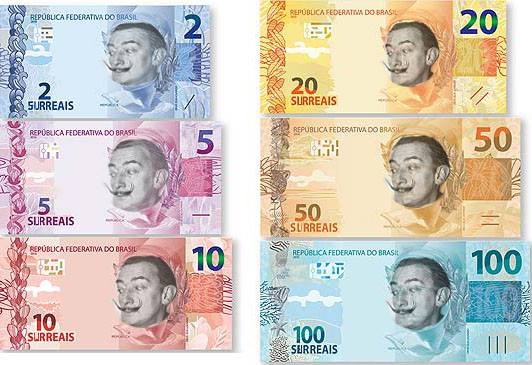 """""""Os surreais: a cara da nova moeda que andam falando por aí..."""" Arte por Patrícia Kalil partilhada no Facebook."""