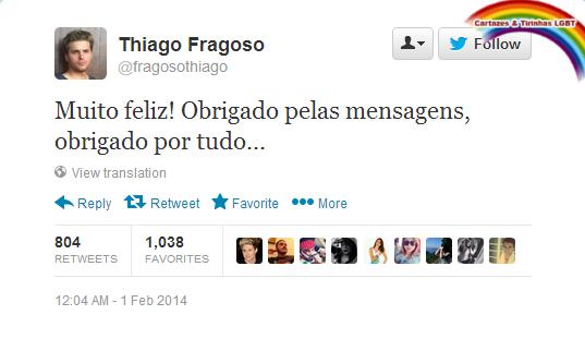Tuíte do ator Thiago Fragoso agradecendo aos fãs