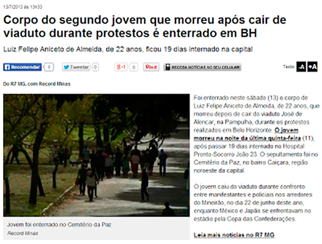 One of the headlines publicized by the blog Anonymous Br4sil, that made a list of other deaths that occurred in protests.