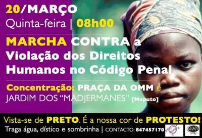 Convocatória para a marcha contra a Violação dos Direitos Humanos no Código Penal Moçambicano. Foto publicada pelo Fórum Mulher no Facebook