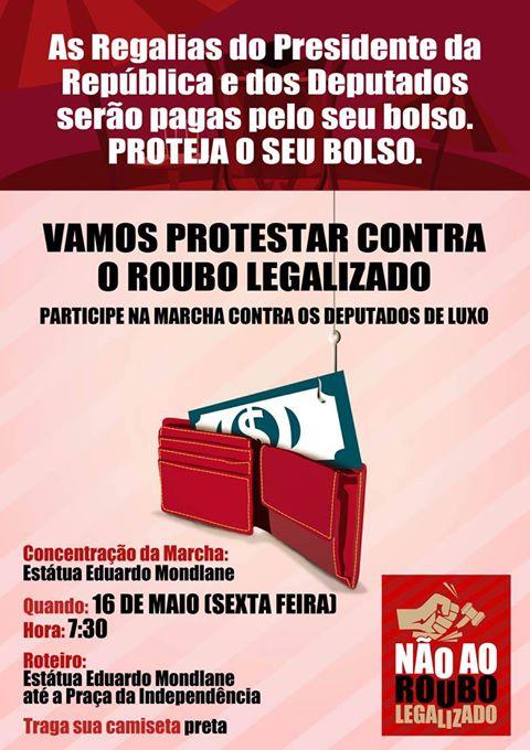 """Cartaz da """"Marcha contra regalias do chefe de estado e dos deputados de luxo""""."""