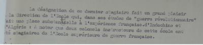 """Trecho de um dos informes de Aussaresses em que recomenda nomes de militares ligados a """"escola francesa"""" para postos de alto escalão."""