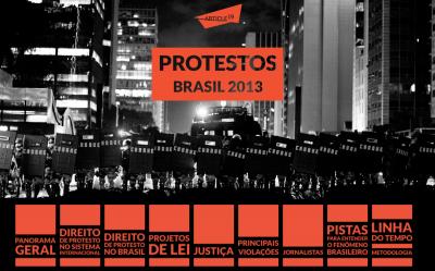 Screen shot do novo site da Artigo 19, dedicado aos protestos de 2013 no Brasil. Foto: Reprodução