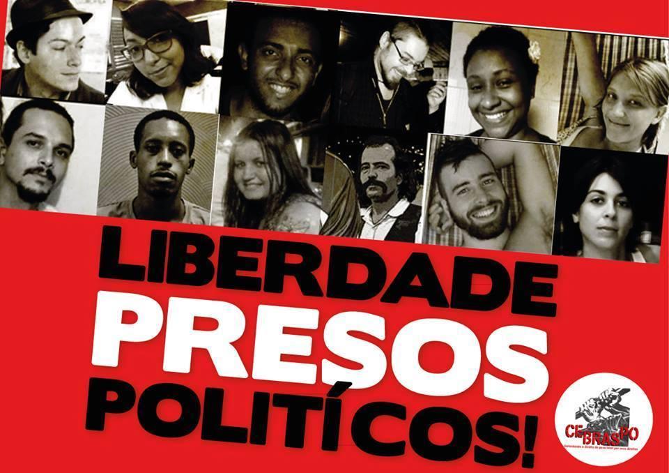 Campanha no Facebook pedia a libertação dos ativistas presos como medida preventiva anti-protestos. Foto: Frente Independente Popular/Facebook