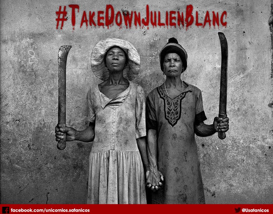 """#TakeDownJulienBlanc. Foto da página do Facebook """"Conspiração dos Unicórnios Satânicos Pela ditadura Comunista Gay e Feminazi""""."""