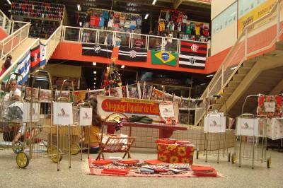 Carrinhos de feira transformados em pequenas bibliotecas itinerantes no Shopping Popular da Ceilândia. Foto de Bibliorodas utilizada com permissão.