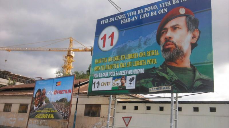 Cartaz eleitoral do CNRT com Xanana Gusmão das eleições  de 2012 em Dili. Foto arquivo: Manuel Ribeiro