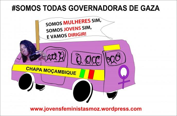 Movimento de Mulheres Feministas de Moçambique em apoio à Governadora de Gaza. Imagem: