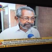 Jorge Rebelo, veterano do partido Frelimo. Foto: Imagem de tela da tv por Dércio Tsandzana