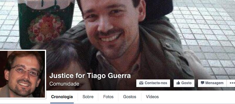 Página do Facebook criada para apoiar Tiago Guerra.