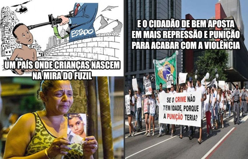 A realidade das favelas brasileiras se contrapõe aos gritos pela redução da maioridade penal. Imagens manipuladas pelo Movimento Pró-Corrupção