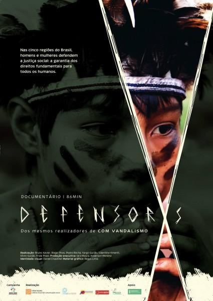 Pôster do filme Defensorxs, do coletivo Nigéria, responsável pelo documentário Com Vandalismo, que acompanhou os protestos durante a Copa das Confederações de 2013 em Fortaleza, Brasil.