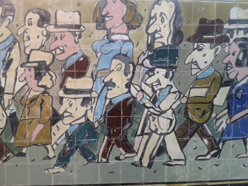 """Leaving"" Mural, by Antonio Segui, at Independencia station in the Buenos Aires metro (Argentina). More Europeans have migrated to Latin America than vice versa. Credit: Rodrigo Borges Delfim"