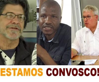 Fernando Veloso (esq.), Fernando Banze (centro) e Carlos Nuno Castel-Branco (dir.). Imagem:  Vozes não silenciadas