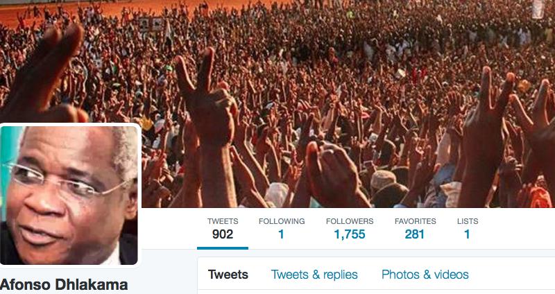 Captura de pantalla de la cuenta de Twitter de Afonso Dhalakma, líder de la Resistencia Nacional Mozambiqueña (RENAMO)