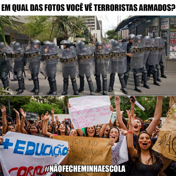 O Coletivo DAR - Desentorpecer a Razão questionou a ação policial contra os estudantes.