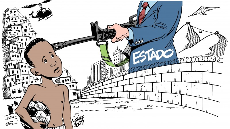 A violência pelas mãos do Estado. Charge by Carlos Latuff.