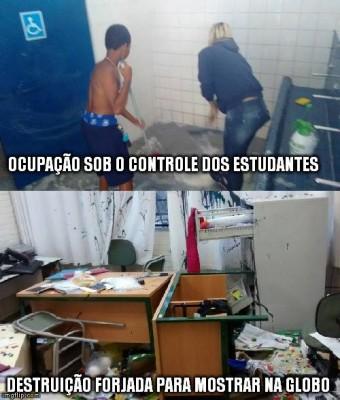 """Mashup do perfil do Facebook """"Não Fechem Minha Escola""""mostrando a organização dos estudantes e o resultado da repressão policial que, segundo ativistas, serve aos propósitos da grande mídia que apoia o governador Geraldo Alckmin."""