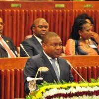 Presidente da República de Moçambique Filipe Nyusi discursa no parlamento. Foto: Presidência da República