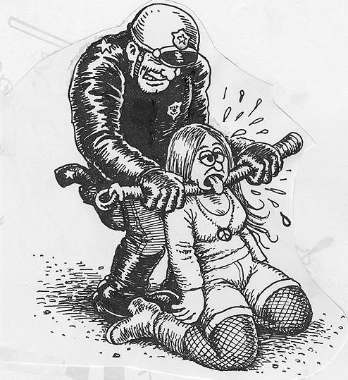 Desenho do famoso cartunista americano Robert Crumb cedido ao Movimento Passe Livre.