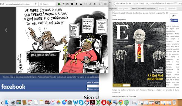 Президент и социальные сети. Снимок экрана MakaAngola