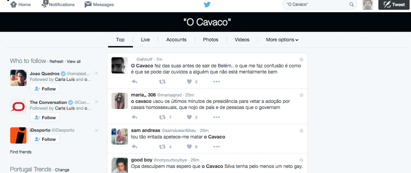 Top do Twitter Portugal de 25 de janeiro de 2015.