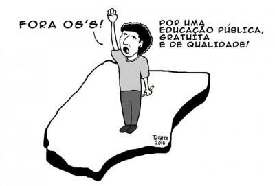 Ilustração de Tavarez em solidariedade aos estudantes presos. Usada com permissão.