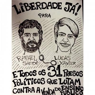 Ilustração em solidariedade aos presos por Heitor Vilela. Rafael Saddi é professor e avia sido citado pelo Global Voices como fonte em postagem anterior sobre a luta dos estudantes em Goiás. Uso da imagem permitido pelo autor.