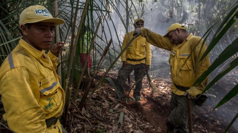 Equipe do ICMBio Prevfogo combate incÍndio dentro da Flona TapajÛs. FLAVIO FORNER / XIB… / INFOAMAZONIA