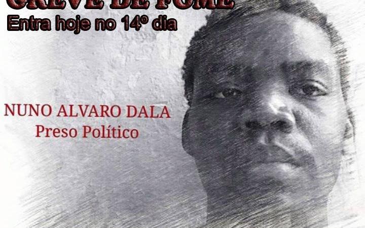 Nuno Dala, em greve de fome desde o dia 10 de março. Foto: Central Angola