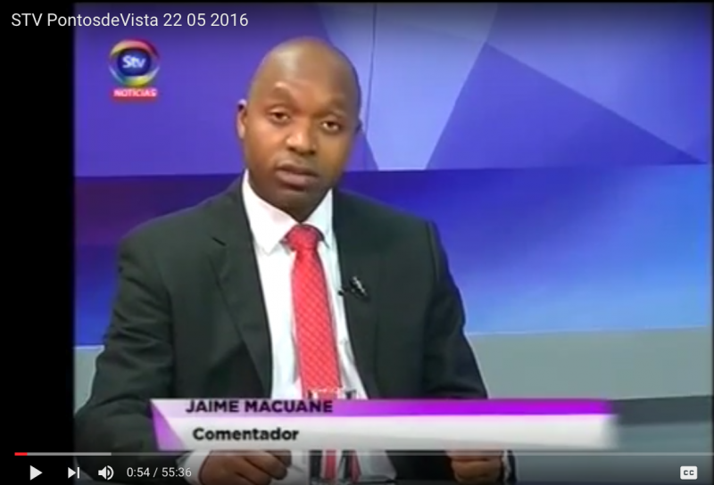 Jaime Macuane, Politólogo da Universidade Eduardo Mondlane. Captura de Tela do Programa STV
