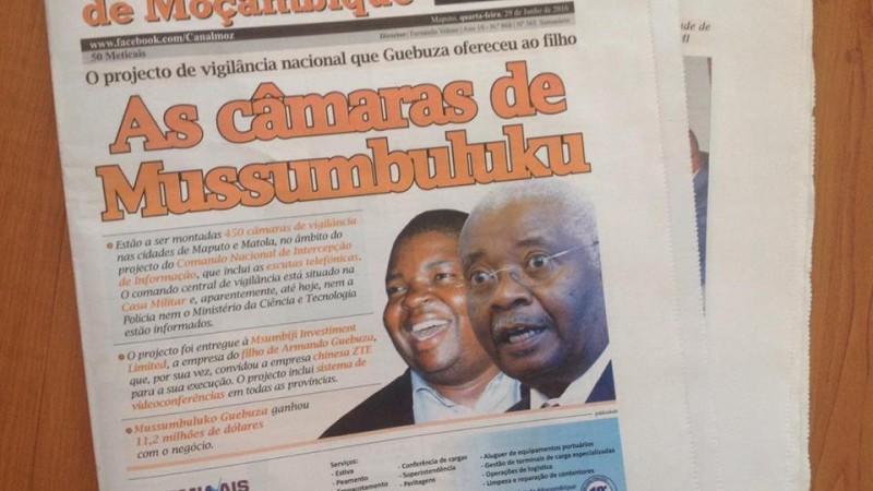 Die Titelseite der Zeitung Canal de Moçambique. Foto: Dércio Tsandzana