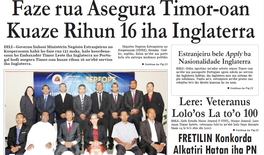Vice-Ministro dos Negócios Estrangeiros e da Cooperação de Timor-Leste Roberto Sarmento de Oliveira Soares procurou amenizar as preocupações dos trabalhadores timorenses no Reino Unido. Captura de tela do Jornal Timor Post.