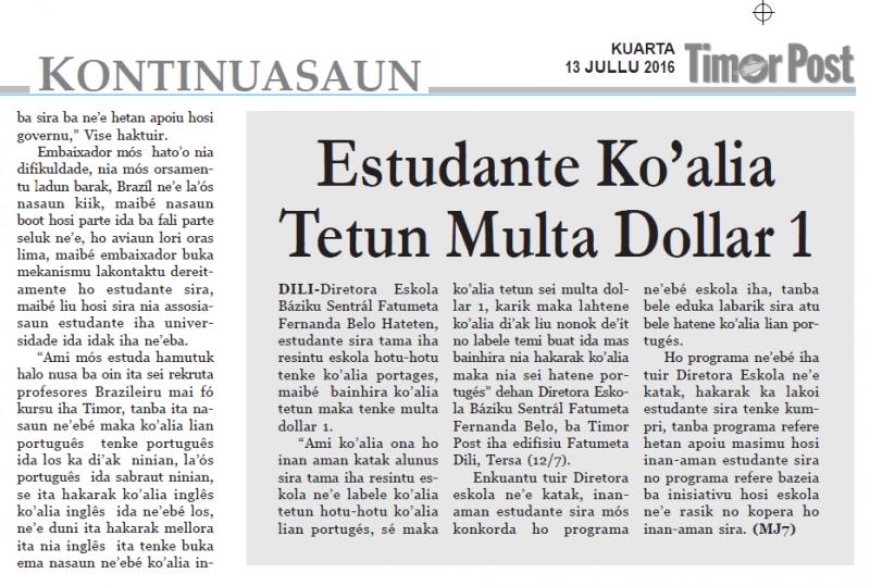 jornal Timor Post 13julho2016