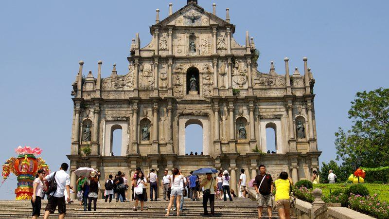 Ruínas de S. Paulo, igreja construída pelos portugueses em 1565 em Macau. Foto: Jakub Hałun /Wikimedia under GNU licence.