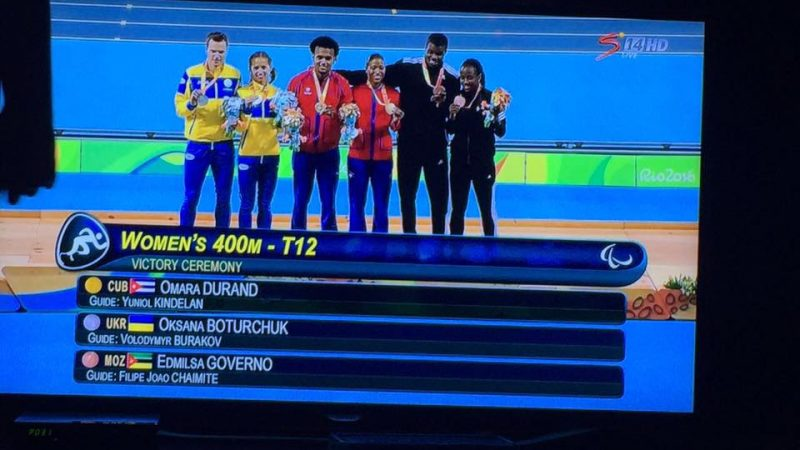 Final 400m feminino - T12. Foto: Edmilsa Governo (uza ho permisaun)