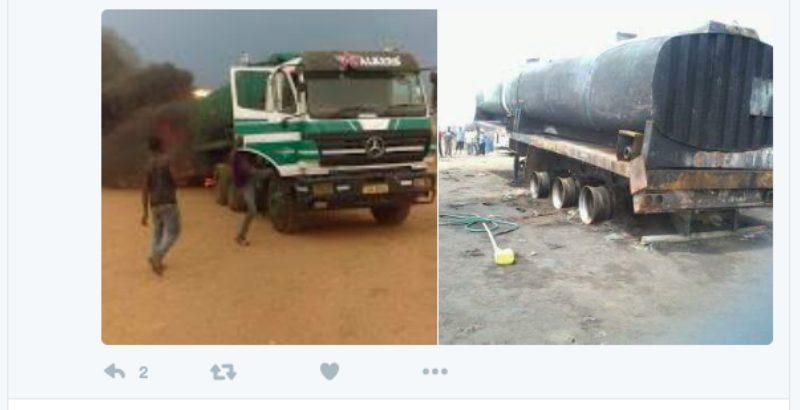 Camião-cisterna explode após roubo de combustível, causando vítimas. Foto a partir do Twiter