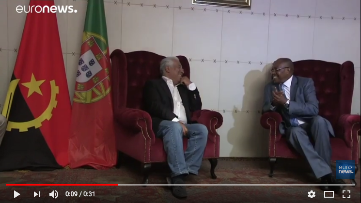 António Costa em conversa com o Ministro das Relações Exteriores de Angola | captura de tela (Youtube), feita pelo próprio autor