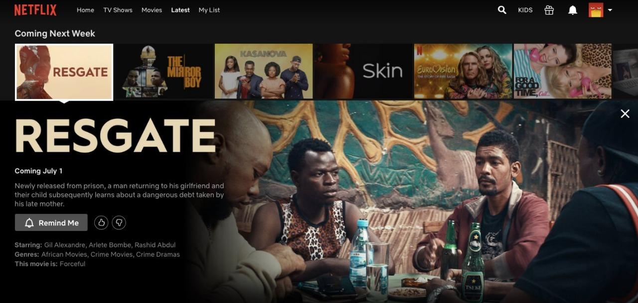 """Capture d'écran de Netflix, montrant l'affiche du film """"Resgate"""", dont la sortie est prévue le 1er juillet."""