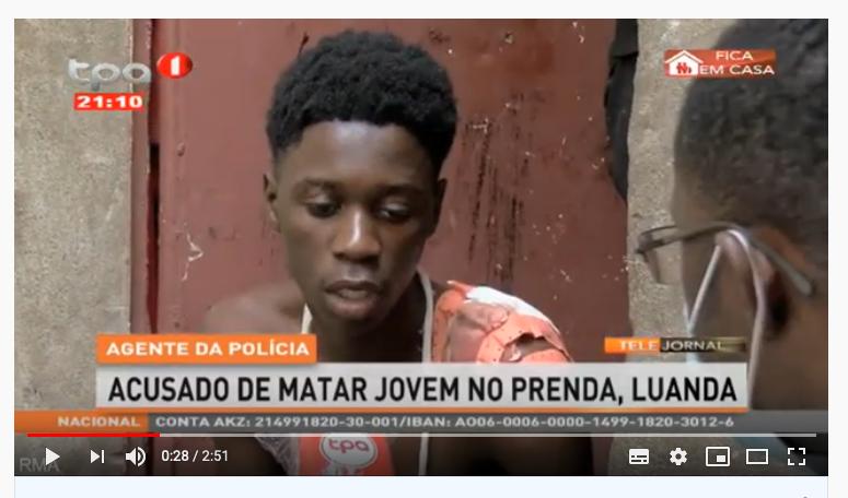 Capture d'écran d'une video d'un reportage diffusé sur la chaîne de télévision TPA. On y voit un jeune homme blessé répondant aux questions d'un journaliste. Seul le journaliste porte un masque.