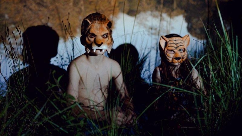 Pendant le confinement, deux jeunes enfants portent des masques de tigres et se tapissent dans les hautes herbes de leur jardin.