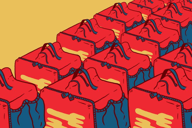 Illustration dans les tons orange et rouge, montrant des rangées de boîtes isothermes typiquement transportées par les livreurs.