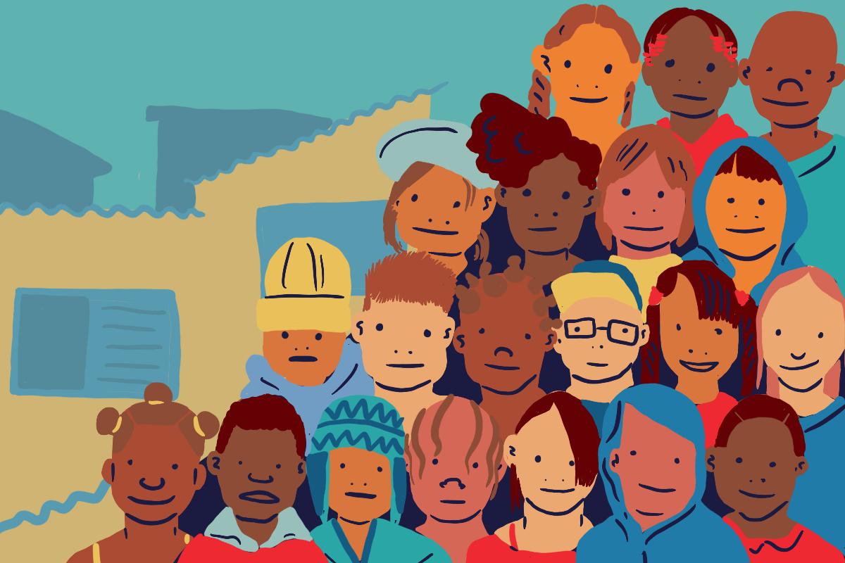 Illustration montrant des visages d'enfants de toutes teintes de peau, arrangés comme pour une photo de classe.