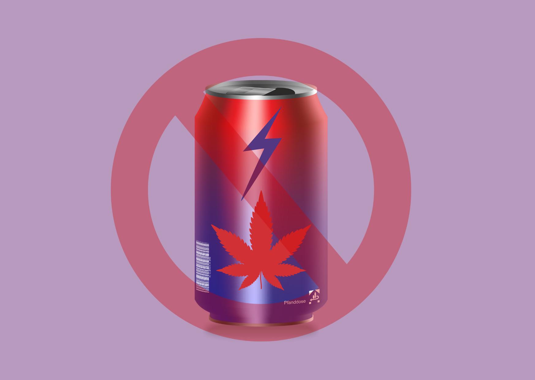 Image de synthèse d'une canette ornée d'une feuille de cannabis et d'un éclair, insérée dans un cercle rouge barré.